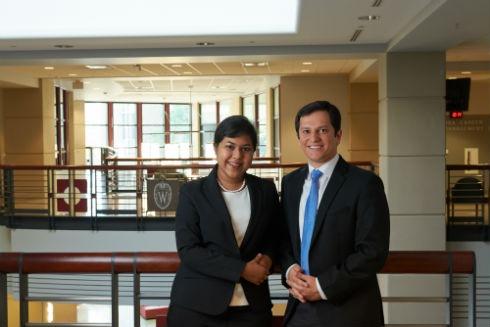 Assistant Professor of Risk and Insurance Anita Mukherjee and Assistant Professor of Operations and Information Management Hessam Bavafa