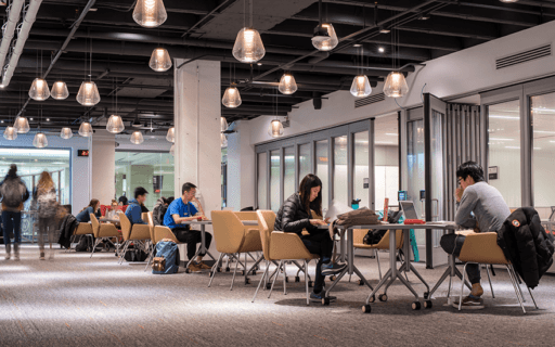 Business students find ample space to study in the Learning Commons
