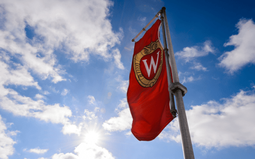 A flag with the UW crest flies against a blue sky