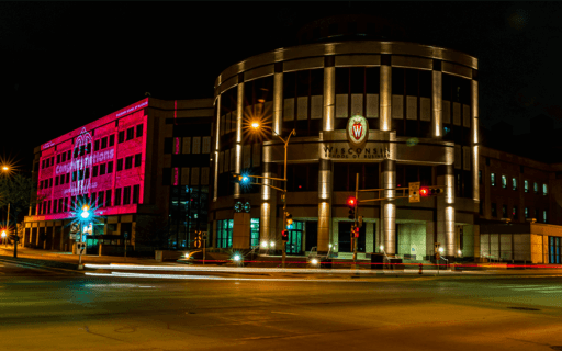 Grainger Hall in lights for graduation