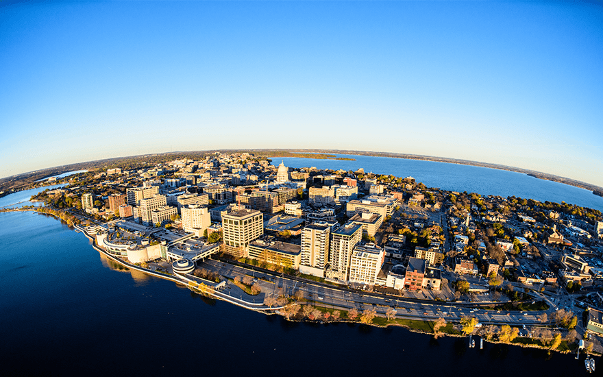 Aerial view of downtown Madison and campus