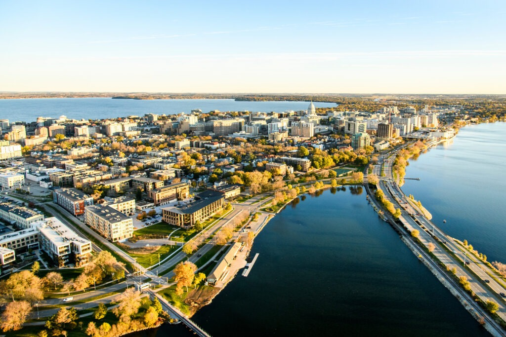 Aerial shots of Madison