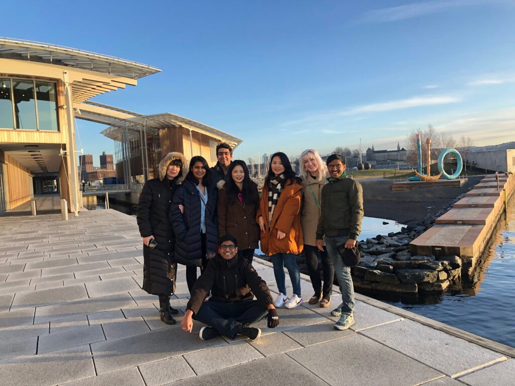 Students pose on trip to norway