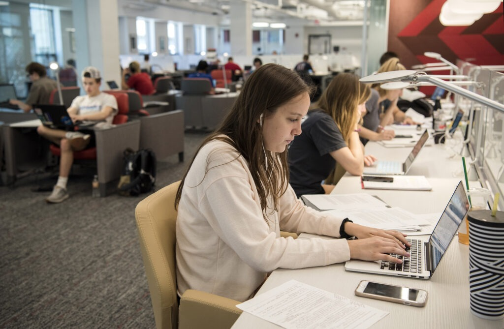 Students grab an opportunity to study for their finals on the third floor of the Learning Commons