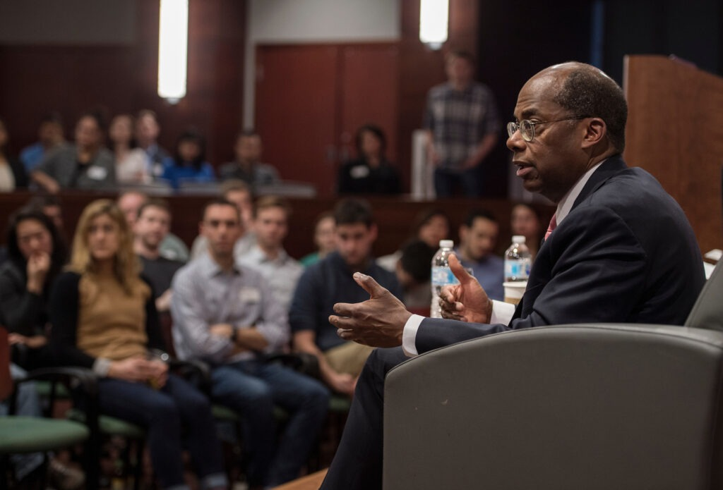 Weikel Guest Speaker Rodger W. Ferguson, Jr., president and CEO of TIAA, address the audience on Wednesday evening, March 21, 2018, during the Weikel Leadership event. (Paul L. Newby, II /UW-Madison Wisconsin School of Business)