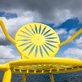 close-up of yellow Memorial Union Terrace chair