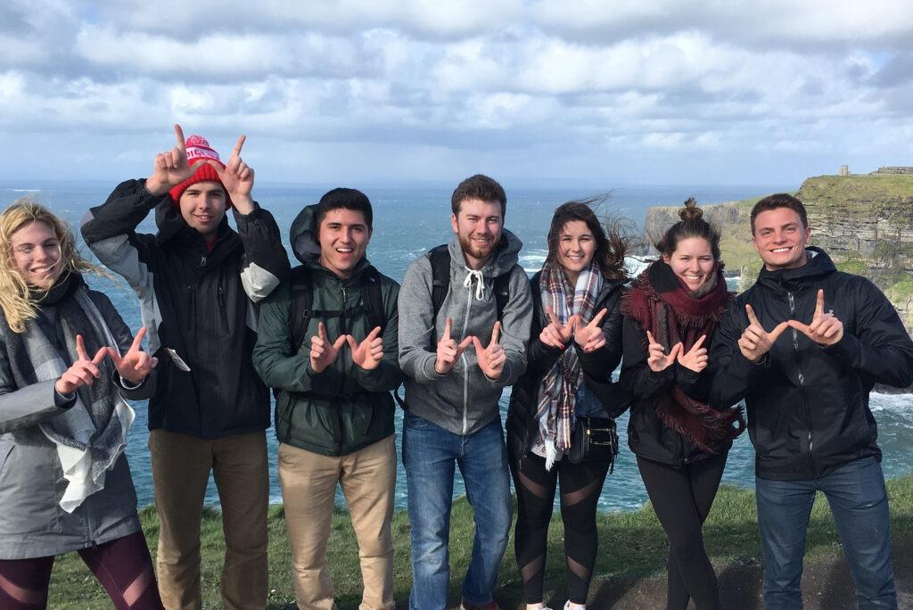 group of UW students posing in Dublin