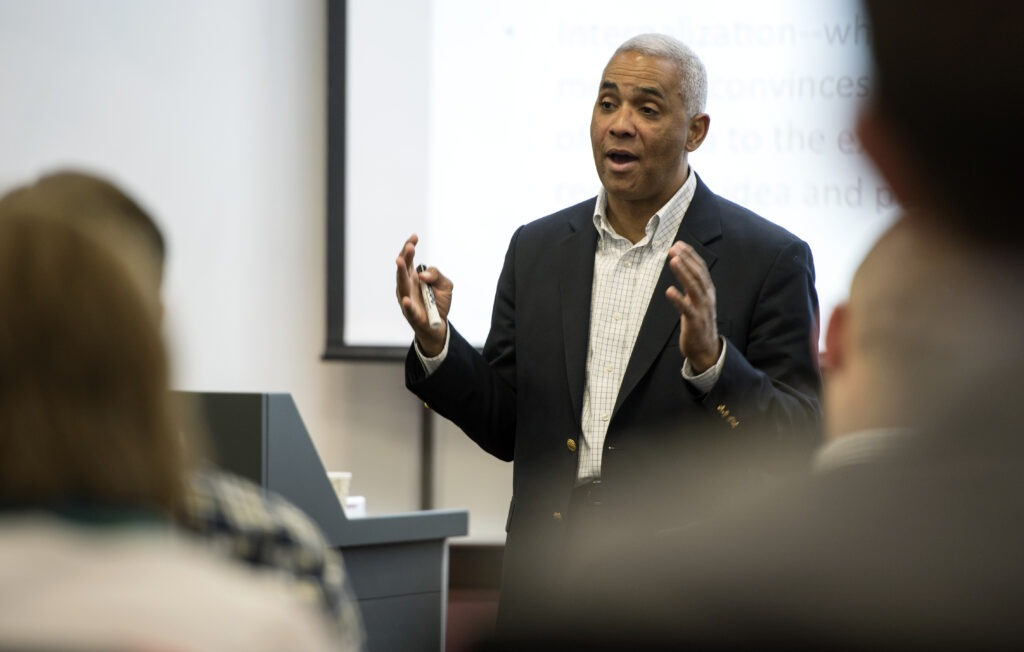 University of Wisconsin School of Business Professor Roger Ervin, talks investments during his class at Grainger Hall.