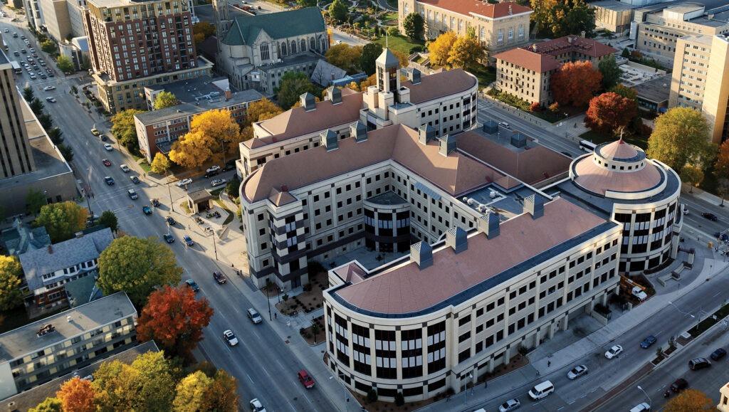 Aerial view of Grainger Hall