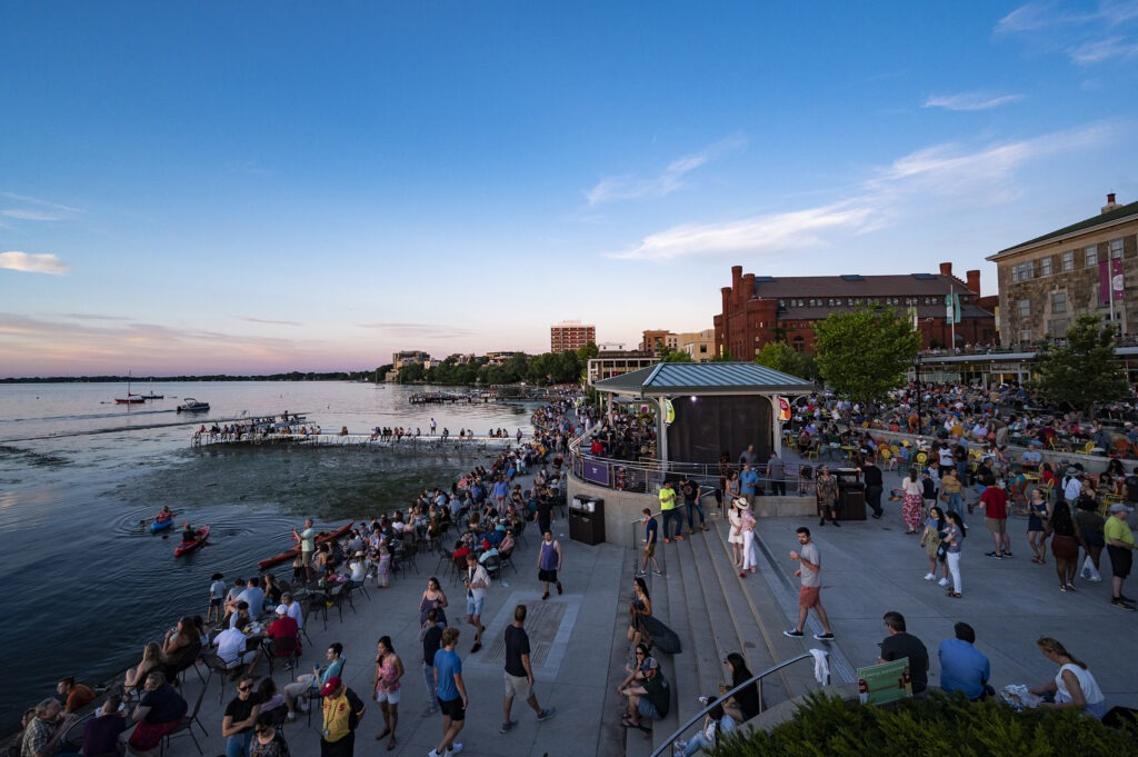 People enjoy an evening at a Madison Jazz Festival event at the Memorial Union Terrace at the University of Wisconsin-Madison
