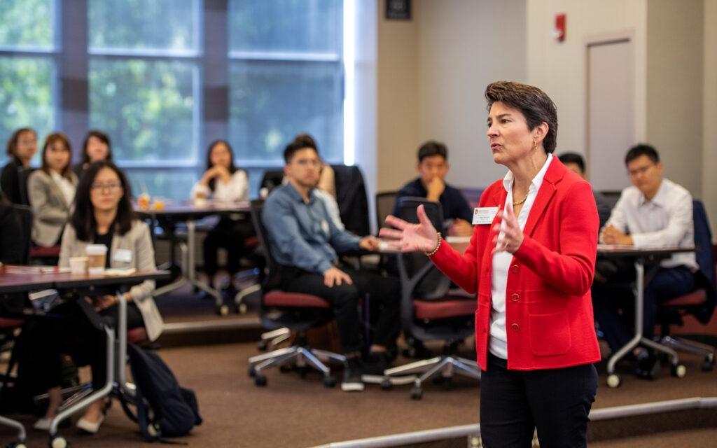 Blair Sanford speaking to students