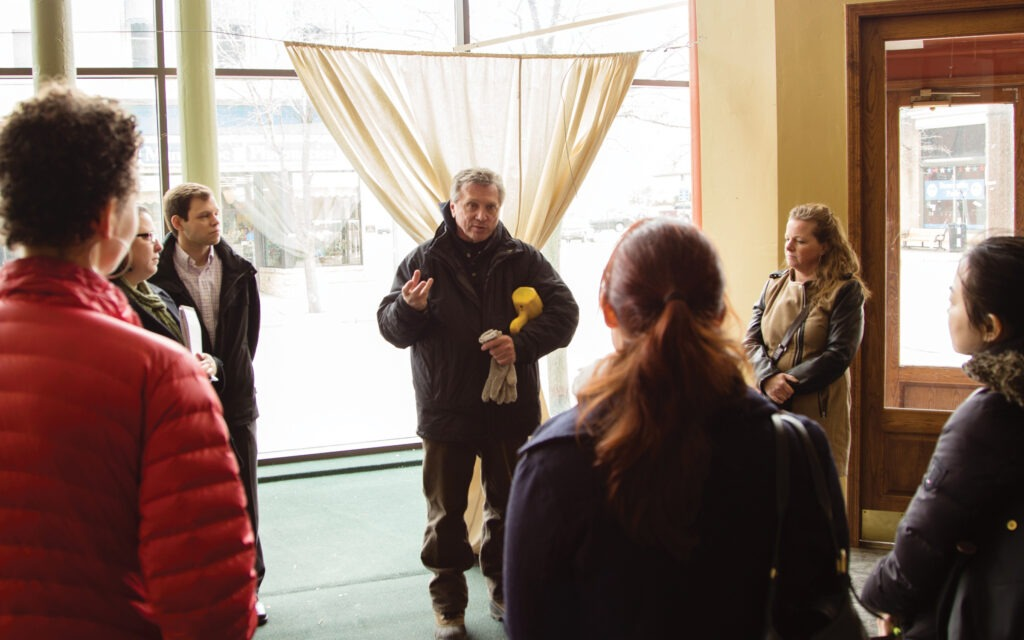 Students touring a building on an applied learning trip