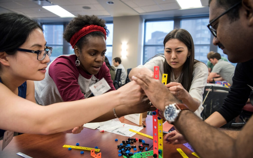 Students work together on a team building activity