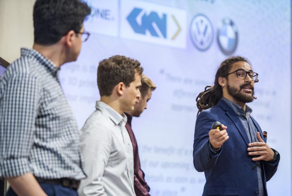The Dastan team member Donovan Walker present the team project during the WAVE Weinert Applied Ventures