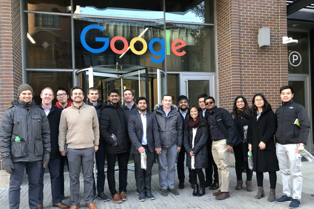 MBA students in front of Google offices