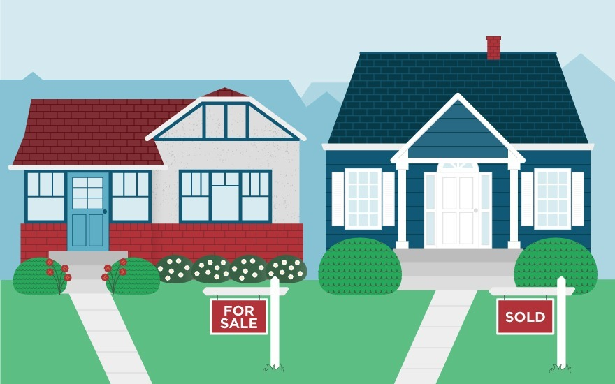 illustration of two houses for sale