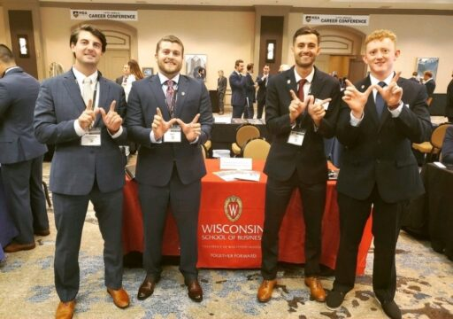 MBA students posing at the MBA Veterans Conference