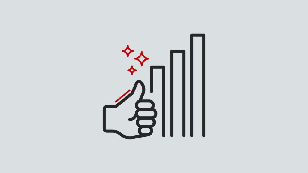 icon of thumbs up next to a bar graph