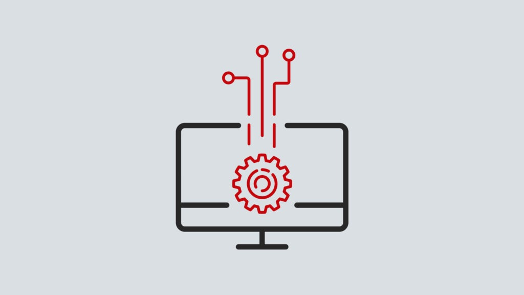 icon of computer with a gear in the center